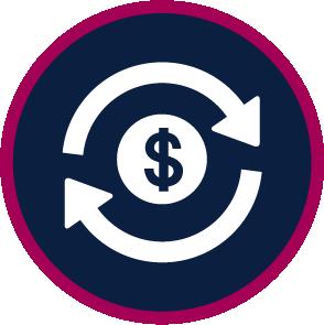 money icon with revolving arrows around it
